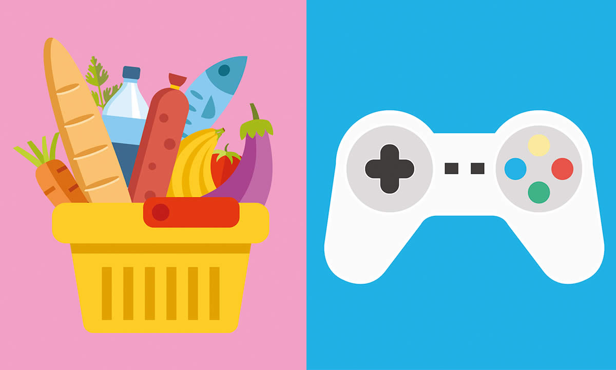 Illustration of a shopping basket with groceries and a computer game controller