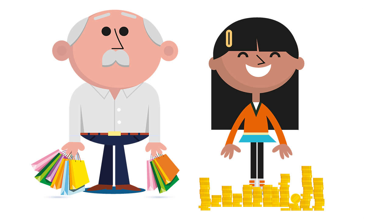 Illustration of a man with shopping bags and a woman with a pile of coins